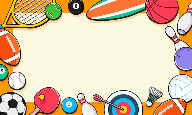 Sport equipment background Premium Vector