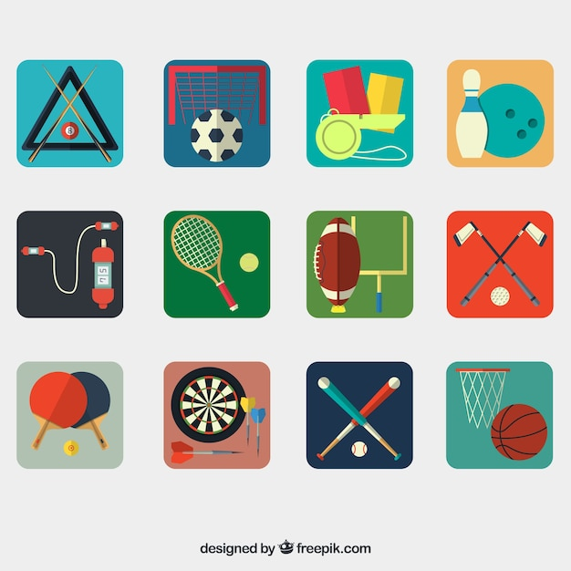 Sport equipment collection Free Vector