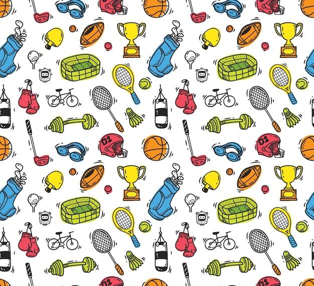 Sport equipment doodle seamless background Premium Vector