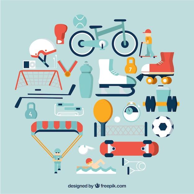 Sport equipment icons Free Vector