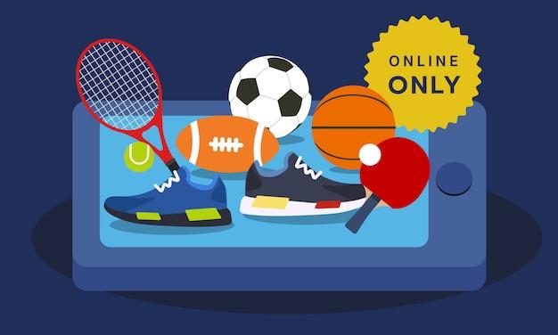 Sport equipment online shopping from mobile app Premium Vector