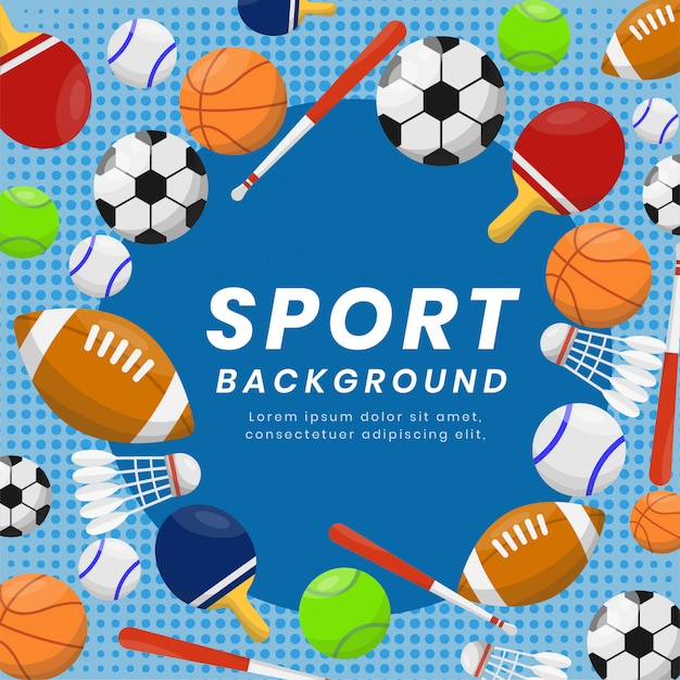 Sport equipments background for competition Premium Vector