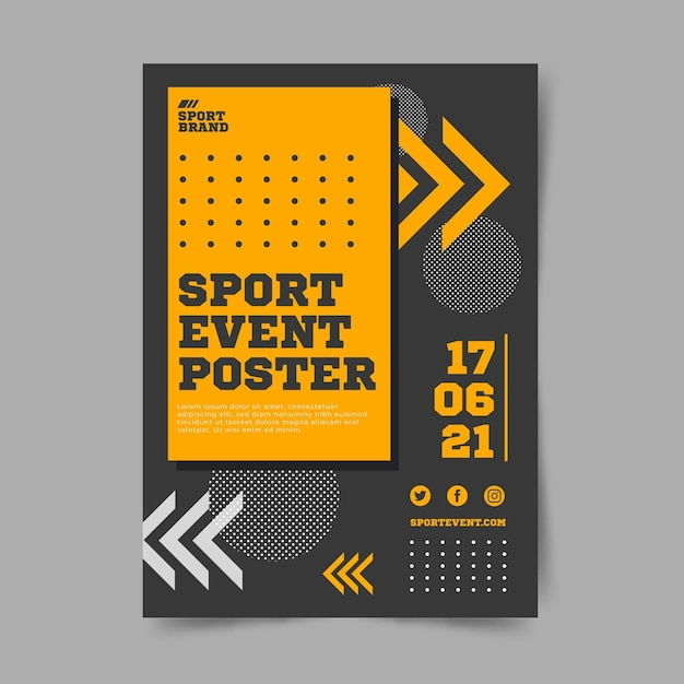 Sport event poster template with dots Free Vector
