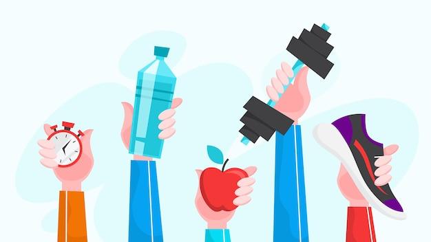 Иллюстрация спортивных упражнений. время заниматься фитнесом и тренировками Premium векторы