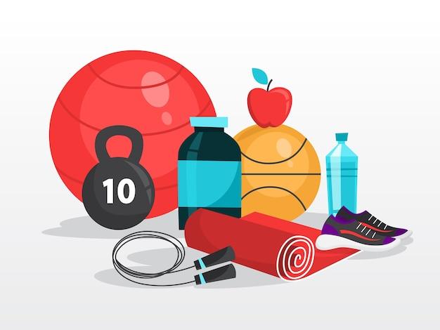 Спортивные упражнения. время заниматься фитнесом и тренировками Premium векторы