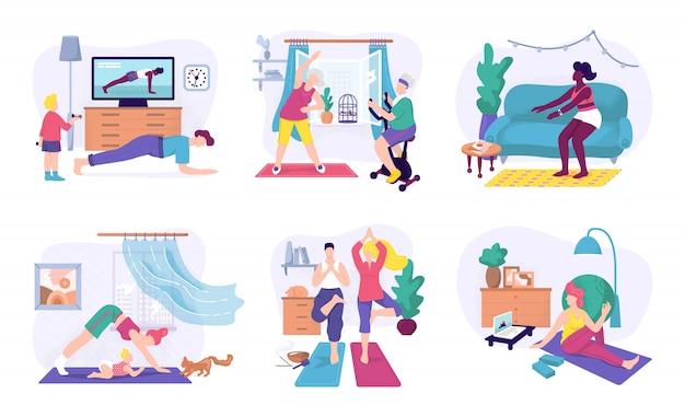 집에서 스포츠 연습, 그림을 설정합니다. 집에서 피트니스 운동과 요가 운동 남성과 여성의 캐릭터. 스포츠 건강한 라이프 스타일, 맞는 운동 훈련과 활동 개념. 프리미엄 벡터