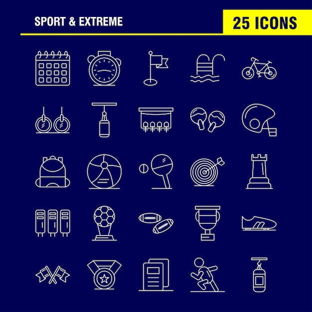Sport and extreme line icons Premium Vector