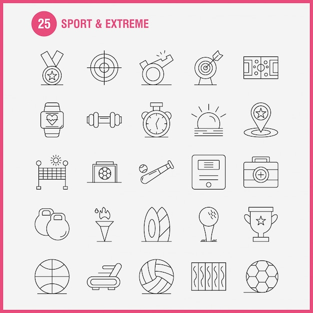 Sport and extreme line icons Free Vector
