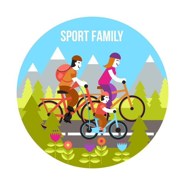 Sport family concept Free Vector