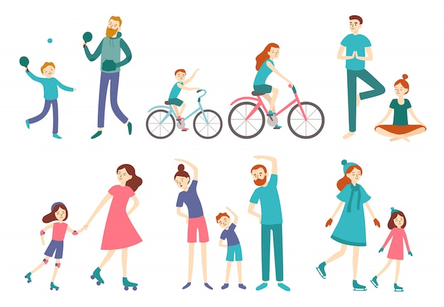 Sport family people. couple with kids on fitness workout, cycling and play tennis. sports lifestyle activities vector illustration Premium Vector