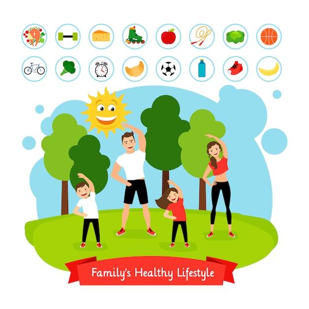 Sport family summer activity Premium Vector