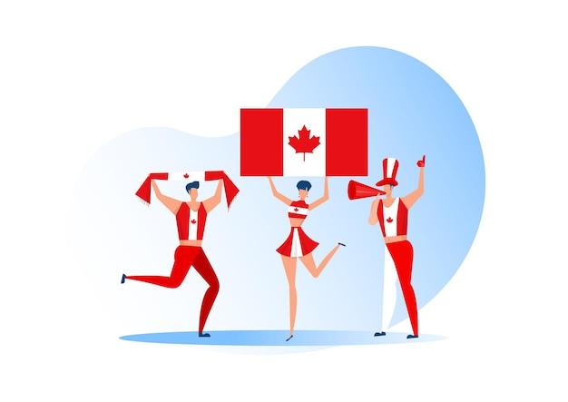 スポーツファン、サッカーチームを祝うカナダの人々。アクティブなチームはサッカーのシンボルと勝利のお祝いをサポートしています。 Premiumベクター