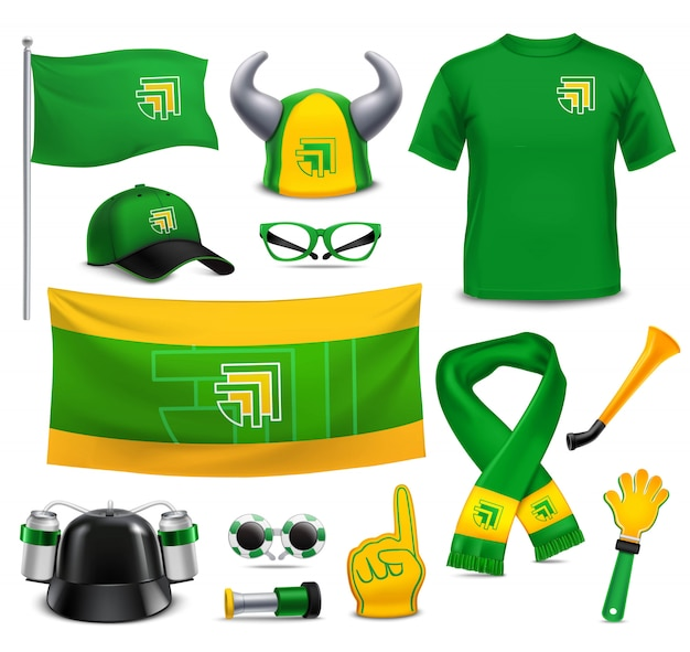 Sport fans supporters realistic mockup accessories Free Vector