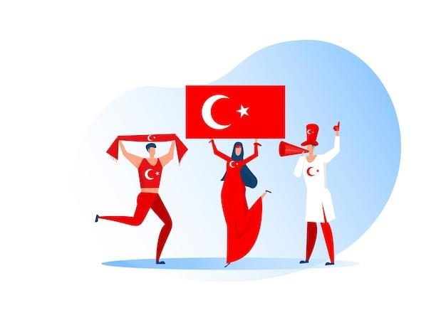スポーツファン、サッカーチームを祝うトルコの人々。アクティブなチームはサッカーのシンボルと勝利のお祝いをサポートしています。 Premiumベクター