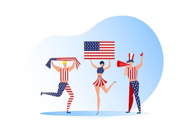スポーツファン、サッカーチームを祝うアメリカ人。アクティブなチームはサッカーのシンボルと勝利のお祝いをサポートしています。 Premiumベクター