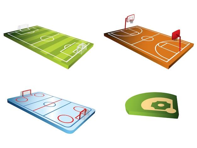 Sport fields 3d Premium Vector