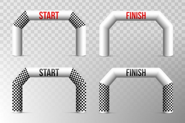 Sport finish line inflatable arch, archway. Premium Vector