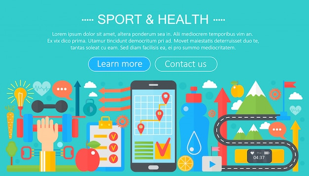 Sport and fitness flat infographics template Premium Vector