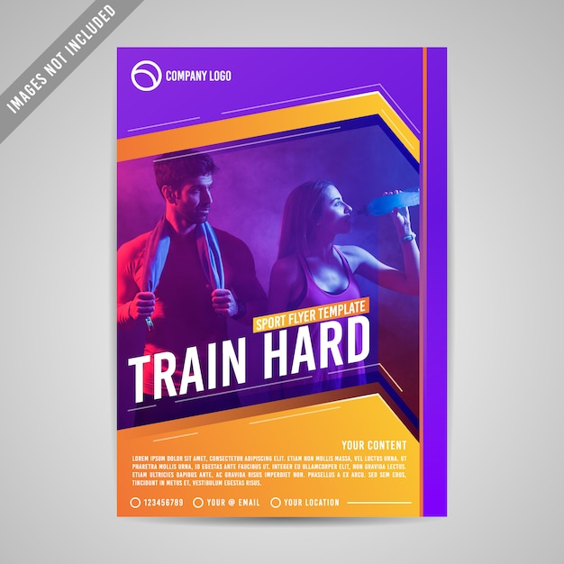 Sport fitness flyer template Premium Vector