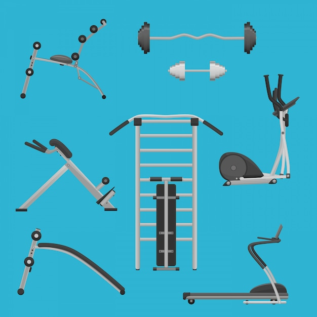 Sport fitness gym exercise equipment Premium Vector