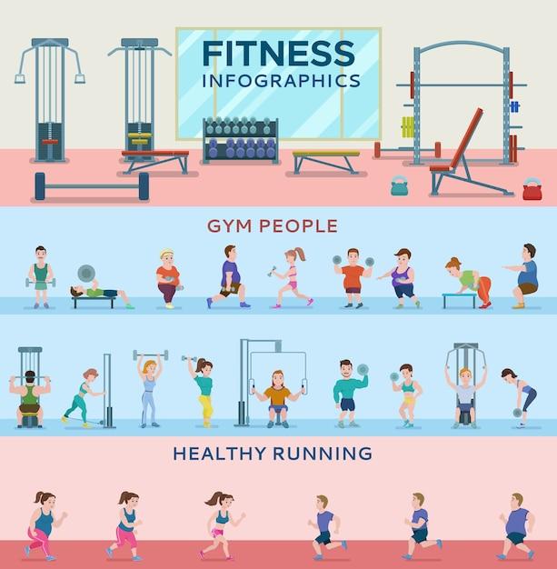 Спорт фитнес горизонтальные баннеры Бесплатные векторы