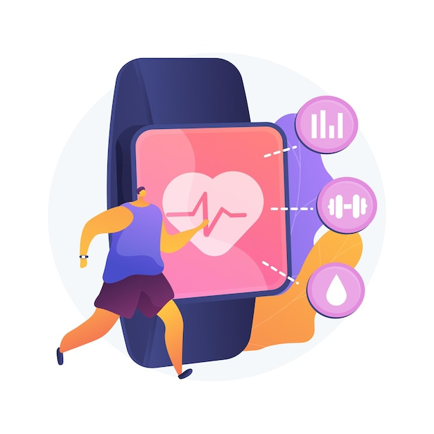 Sport and fitness tracker abstract concept vector illustration. activity band, health monitor, wrist-worn device, application for running, cycling and every-day training abstract metaphor. Free Vector