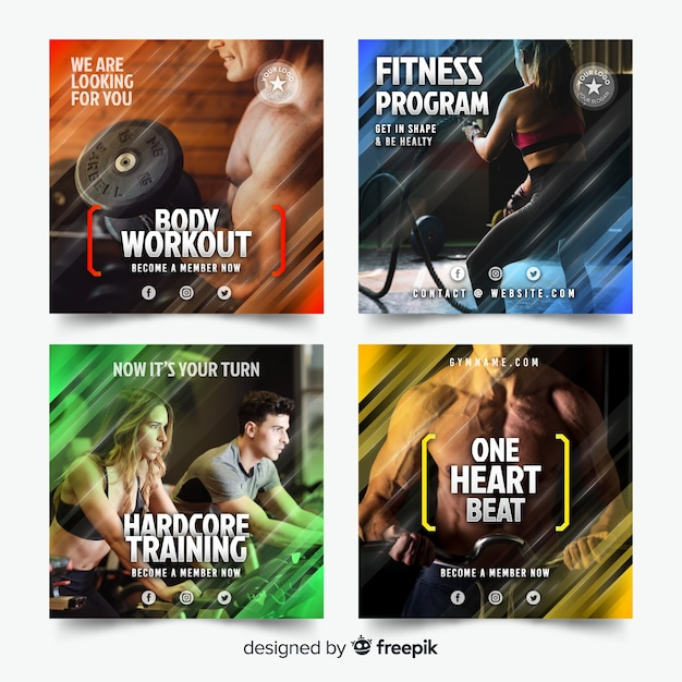 Sport flyer collection Free Vector