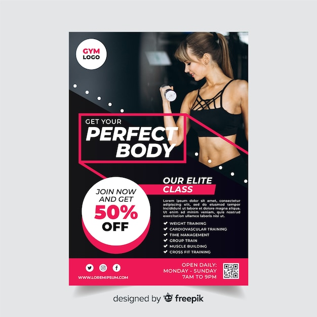 Sport flyer template with discount Free Vector