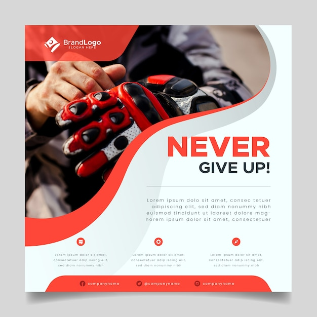 Sport flyer template with image Premium Vector