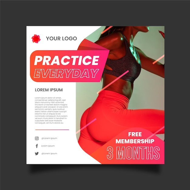 Sport flyer template with image Free Vector
