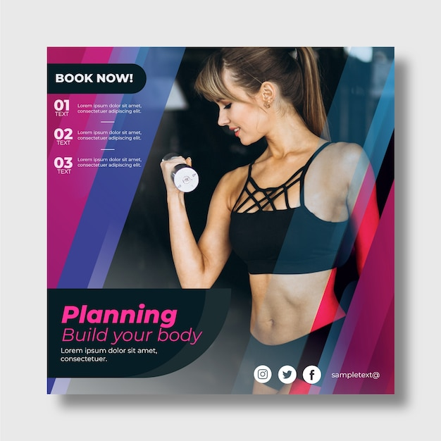 Sport flyer template with photo Free Vector