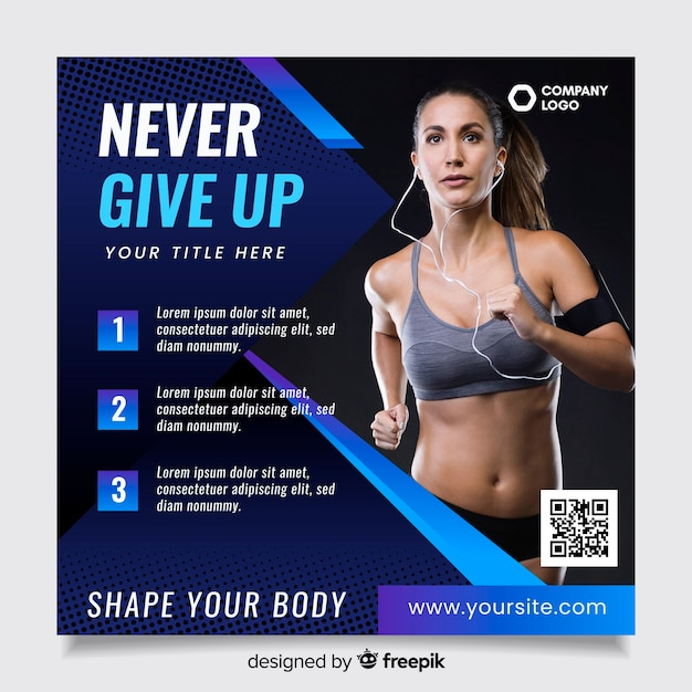 Sport flyer template with qr code Free Vector