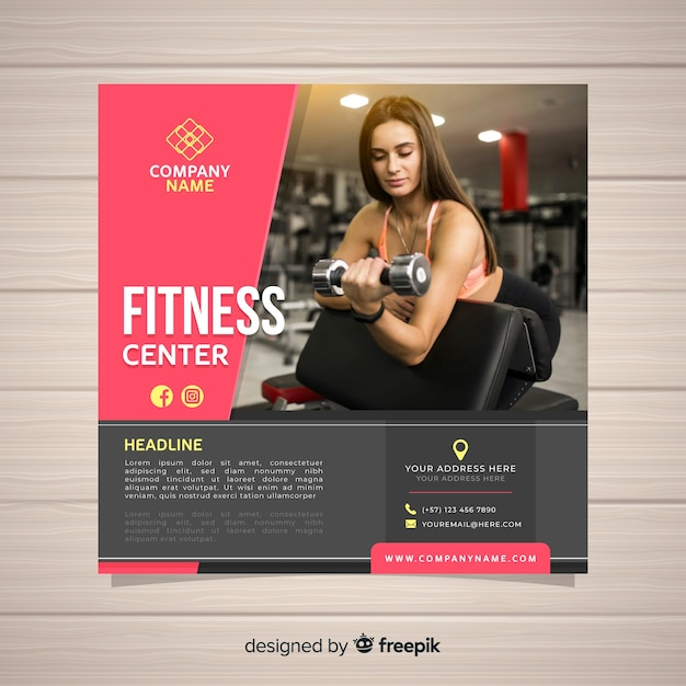 Sport flyer template Free Vector