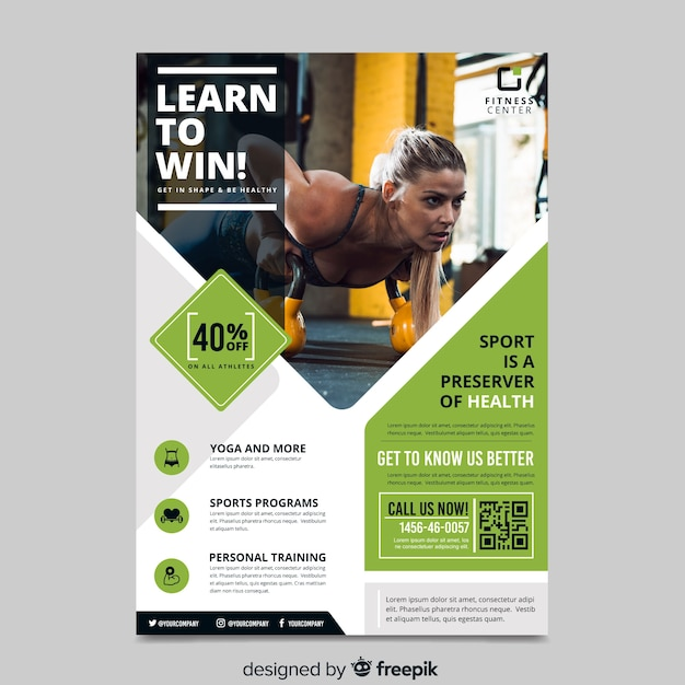 Sport flyer with image template Free Vector