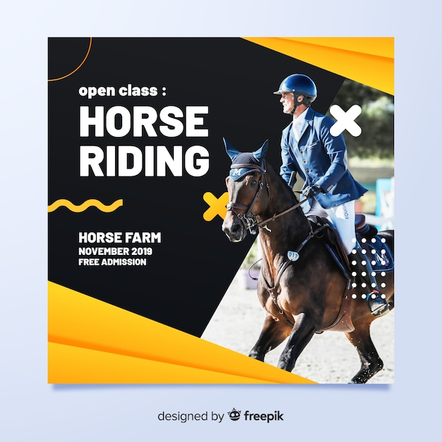 Sport flyer with jockey on horse Free Vector
