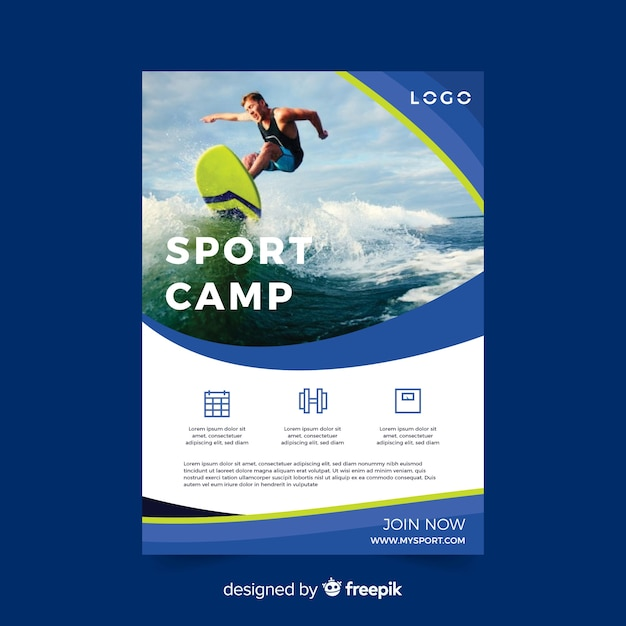 Sport flyer with man surfing Free Vector