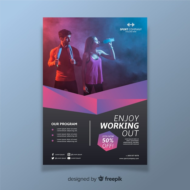Sport flyer with photo template Free Vector