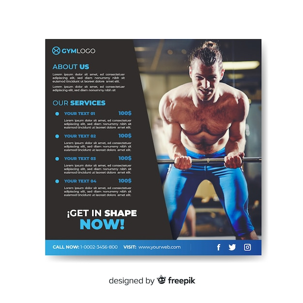 Sport flyer with photo Free Vector