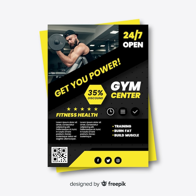 Sport flyer with picture template Free Vector