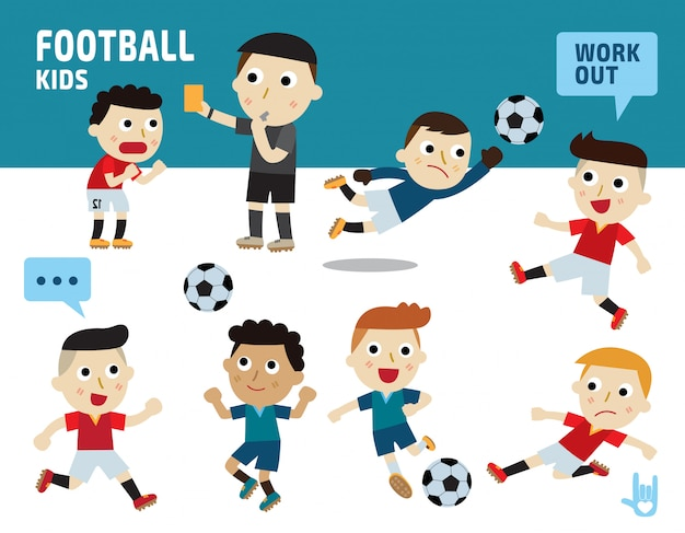 Sport football concept. kids diverse of costume and action poses. Premium Vector