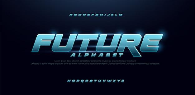 Sport future blue glow modern italic alphabet font Premium Vector