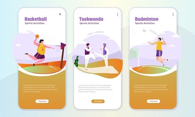 Иллюстрация спортивных игр на концепции бортового экрана Premium векторы