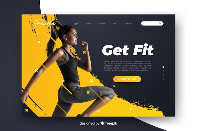 Sport get fit landing page with photo Free Vector