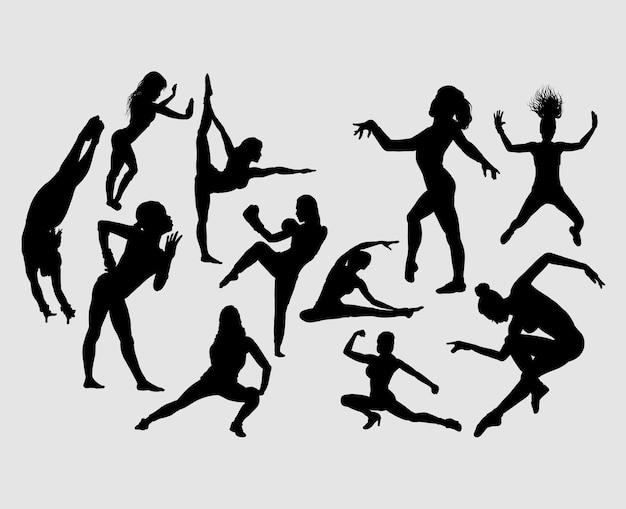 Sport girl activity silhouette Premium Vector