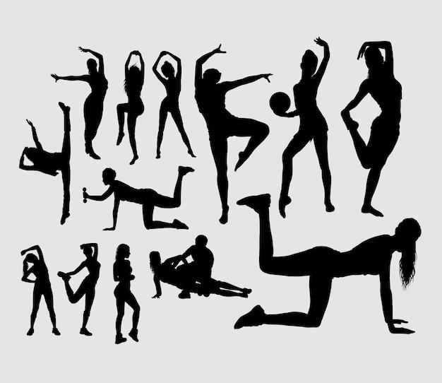 Sport girls training activity silhouette Premium Vector