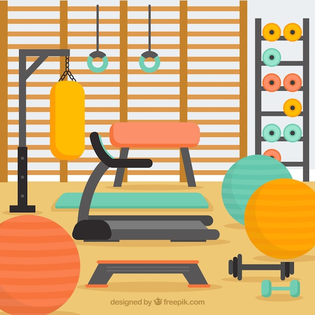 Sport gym background with exercise\ machines