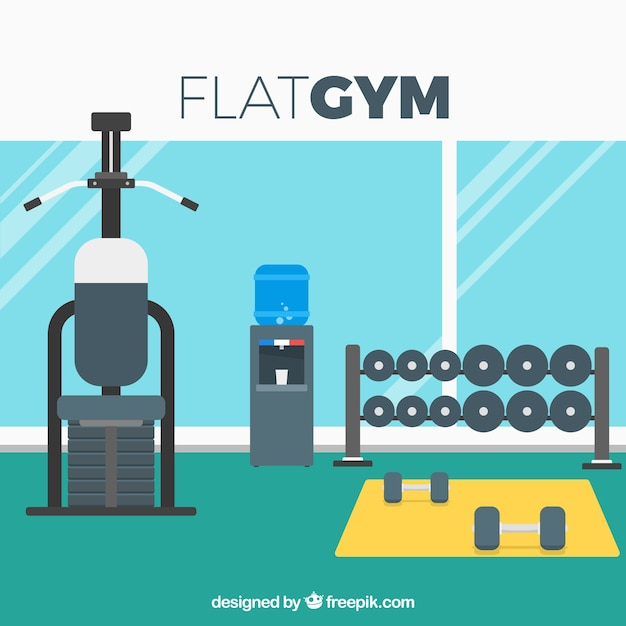 Sport gym background with exercises machines in\ flat style