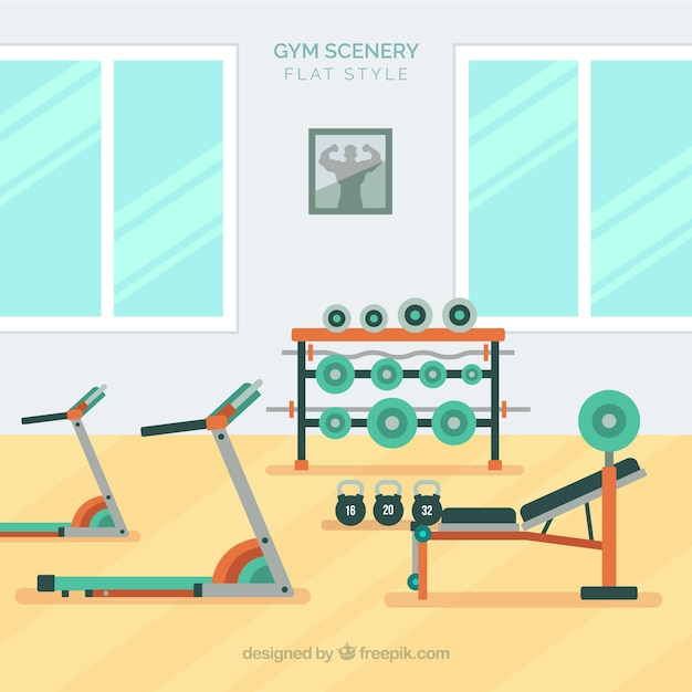 Sport gym background with exercises\ machines