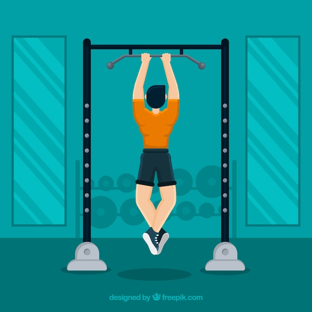 Sport gym background with people training Vector   Free Download