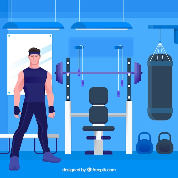 Sport gym background with people\ training
